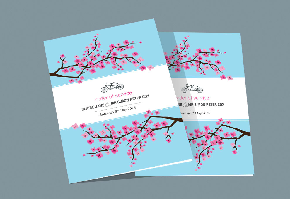 printed wedding stationery order of service